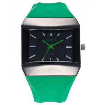 Silicone Strap Analog Square Watch - GREEN GREEN