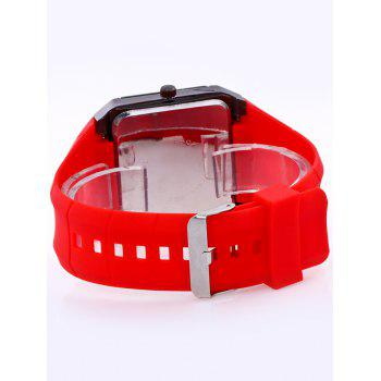 Silicone Strap Analog Square Watch -  RED