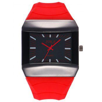 Silicone Strap Analog Square Watch - RED RED