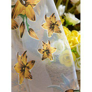 Floral Embroidery Sheer Fabric Voile Curtain - YELLOW 100*200CM