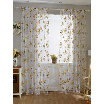 Floral Embroidery Sheer Fabric Voile Curtain