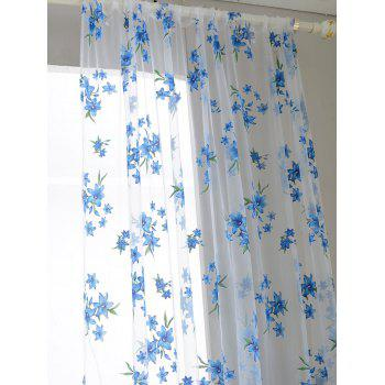 Floral Embroidery Sheer Fabric Voile Curtain - SKY BLUE 100*200CM