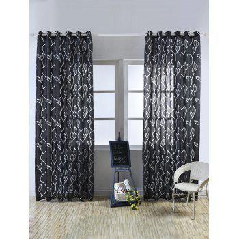 Home Decoration Leaf Embroider Tulle Curtain - BLACK 100*250CM