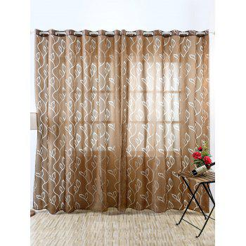 Home Decoration Leaf Embroider Tulle Curtain - COFFEE 100*250CM