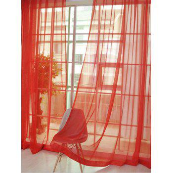 Window Decor Sheer Tulle Curtain For Living Room - BRIGHT RED BRIGHT RED