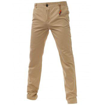 Zipper Fly Bead Embellished Chino Pants