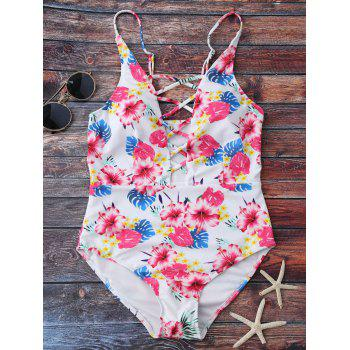 Floral Lace Up One Piece Swimwear