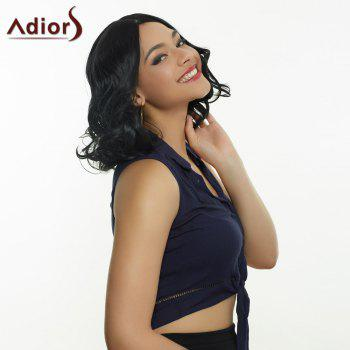 Trendy Women's Medium Curly Black Centre Parting Synthetic Hair Wig - BLACK