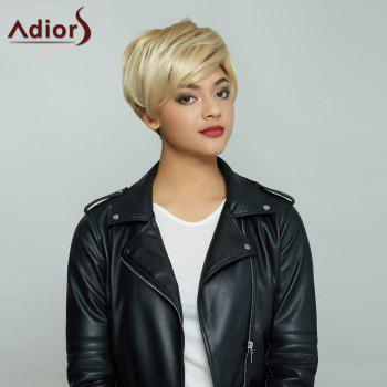 Short Golden Mixed Side Bang Fluffy Handsome Synthetic Hair Wig -  COLORMIX