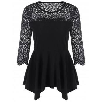 Lace Trim Asymmetrical Peplum Blouse