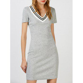 V Neck Mini T Shirt Cricket Sweater Dress
