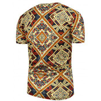 Ethnic Printed Short Sleeves Tee - COLORMIX 4XL