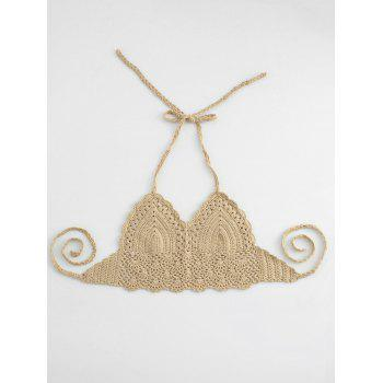 Halter Crochet Cute Bathing Suit Top - BEIGE ONE SIZE
