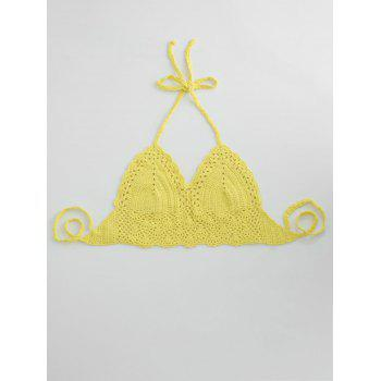 Halter Crochet Cute Bathing Suit Top - YELLOW YELLOW