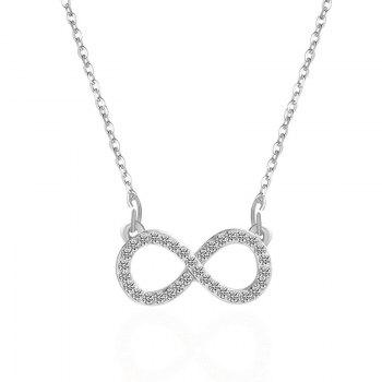 Infinite Rhinestoned Pendant Necklace