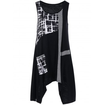Single Pocket Striped Trim Asymmetrical Tank Top