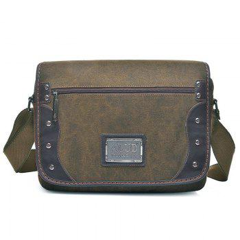 Canvas Metal Detail Messenger Bag
