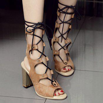 Slingback Block Heel Lace Up Sandals