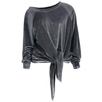 Velvet Knotted Raglan Sleeve Top