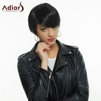 Noble Straight Side Bang Synthetic Short Haircut Black Wig For Women
