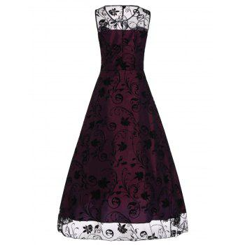 A Line Floral Sleeveless Tulle Maxi Party Formal Dress - RED VIOLET XL