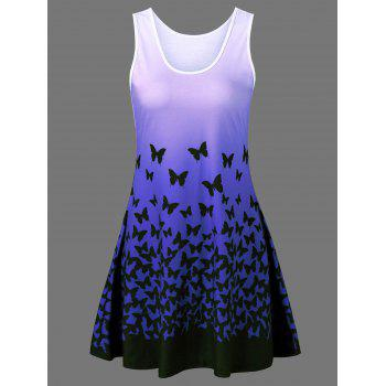 Butterfly Print Ombre Casual A Line Short Tank Dress
