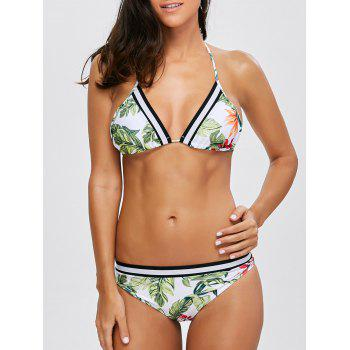 Halter Leaf Print Striped Bikini