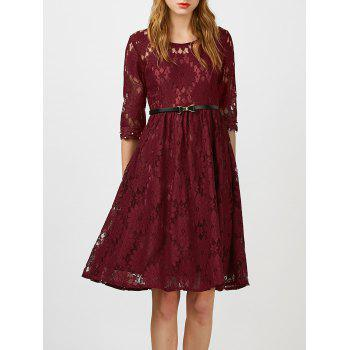 Beaded Knee Length Lace Dress