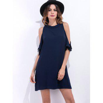 Loose Fit Cold Shoulder Short Chiffon Dress - PURPLISH BLUE S