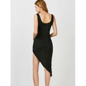 Asymmetric Hem Sleeveless Dress - BLACK L