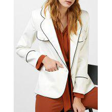 Button Design Contrast Piped Blazer