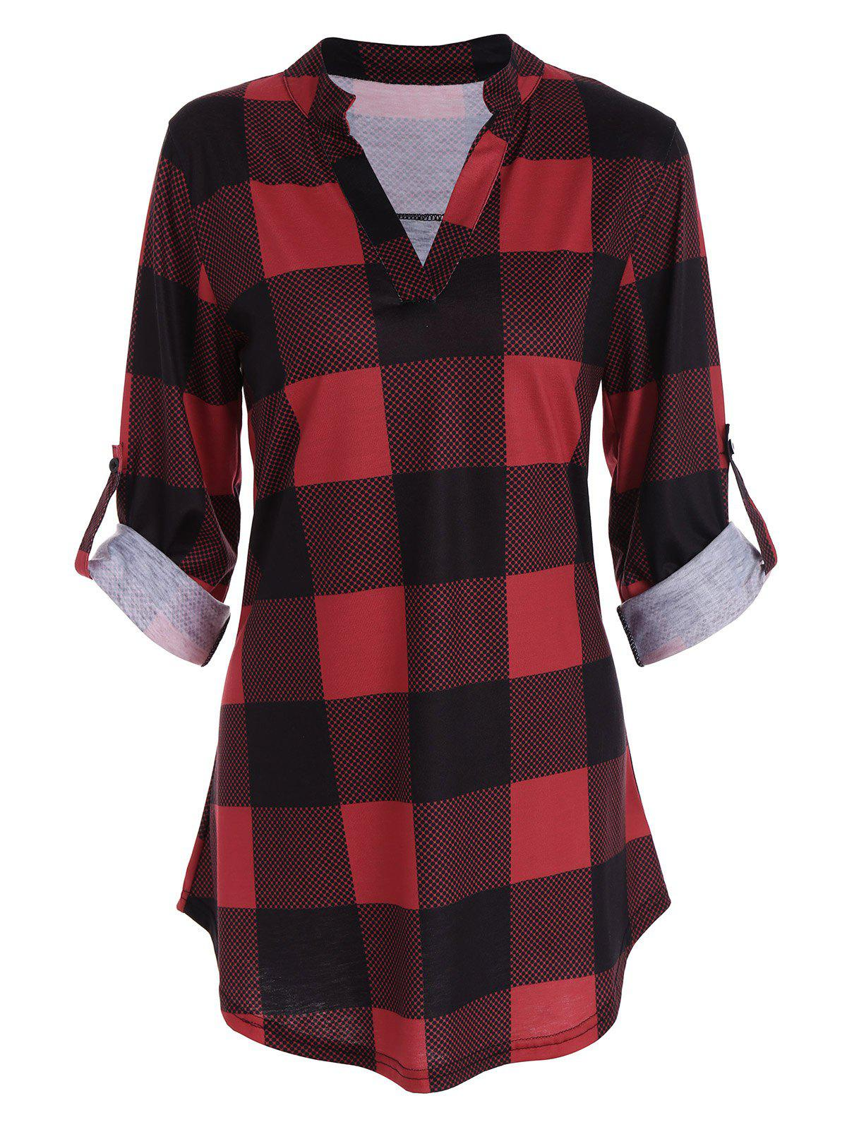 Plaid Split-Neck Tee - RED XL