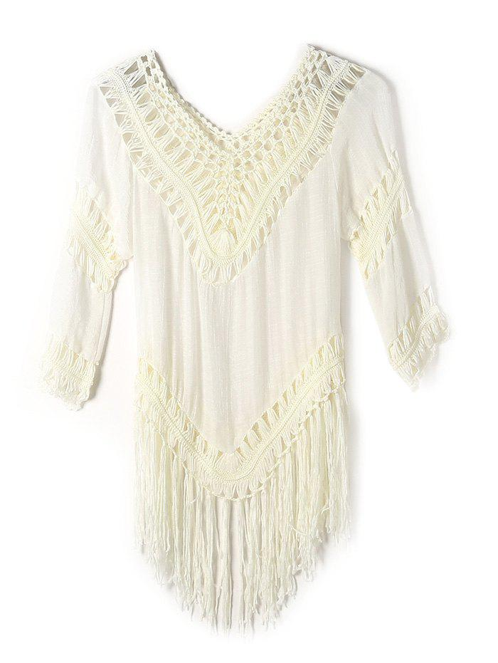 Ajouré Fringe Tunique Crochet Cover-Up - Blanc Cassé ONE SIZE