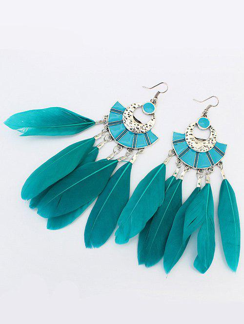 Feather Geometric Bohemian Earrings faux opal geometric earrings