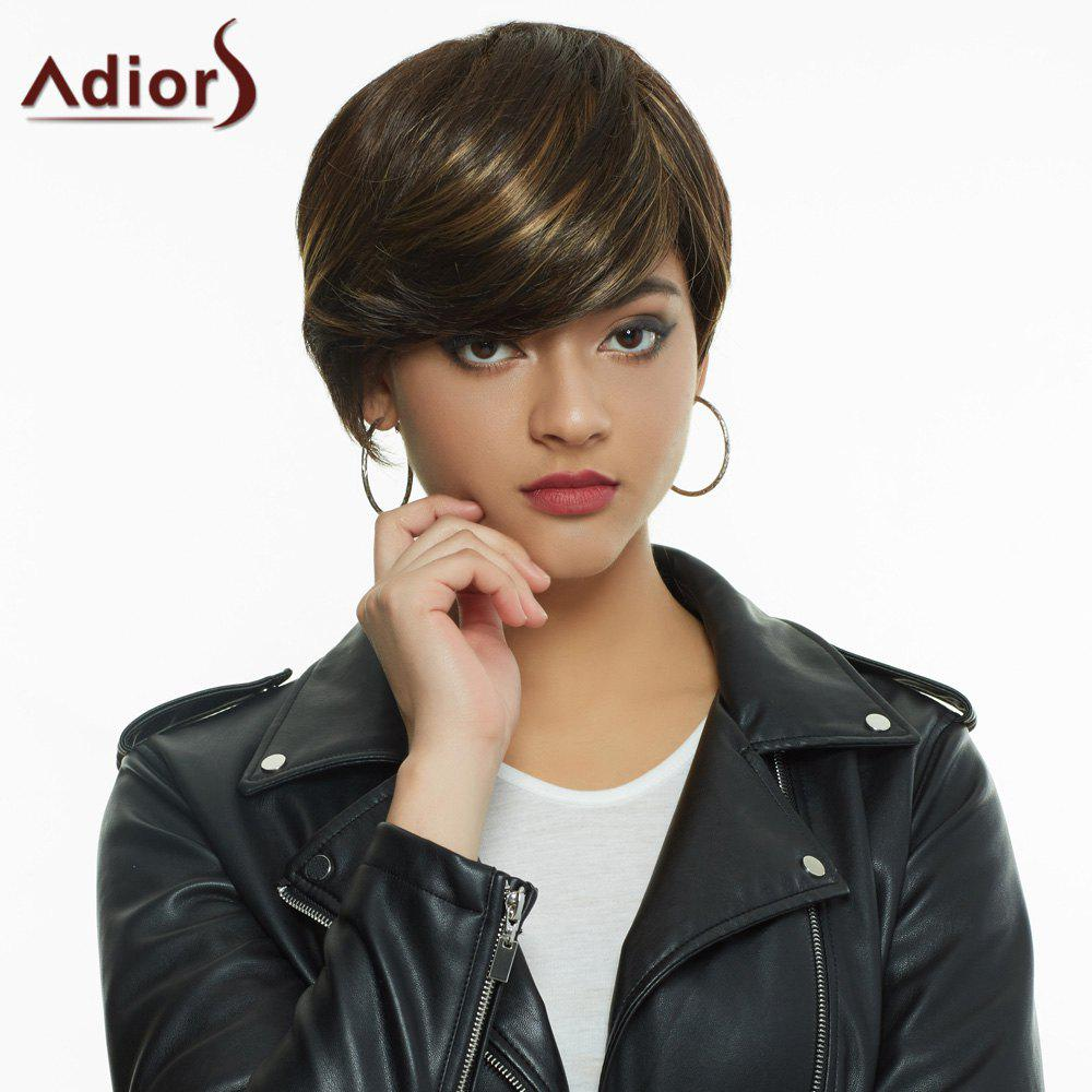 Faddish Straight Short Layered Cut Blonde Highlight Synthetic Women's Wig - COLORMIX