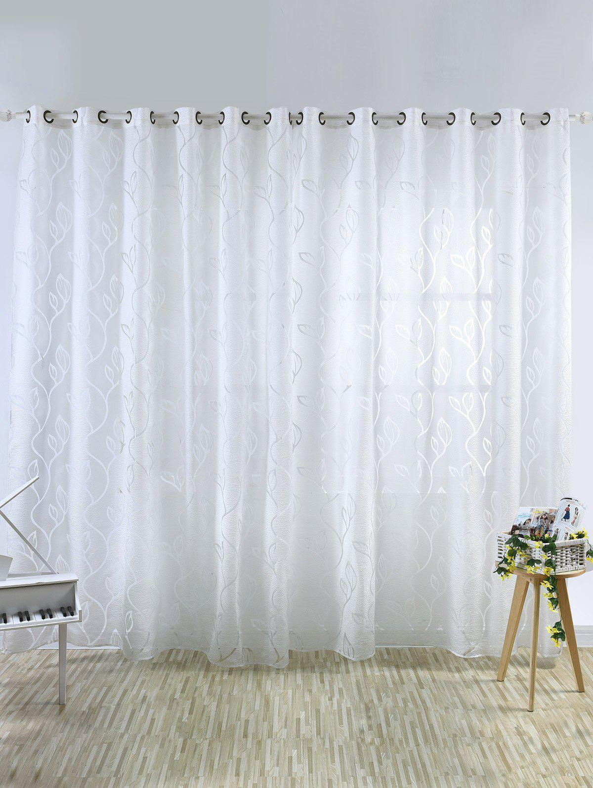 Home Decoration Leaf Embroider Tulle Curtain - CRYSTAL CREAM 100*250CM