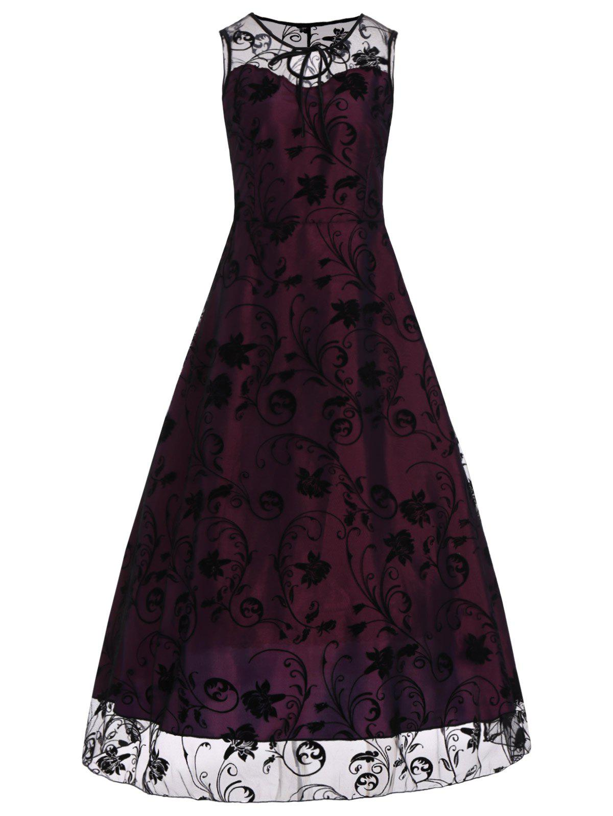 Floral Sleeveless Tulle Maxi Dress - RED VIOLET XL