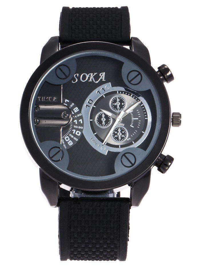 Silica Gel Strap Analog Watch, Black
