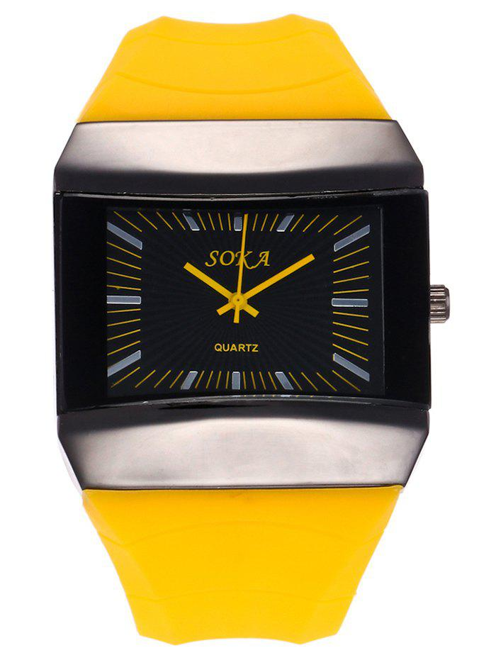 Silicone Strap Analog Square Watch - YELLOW