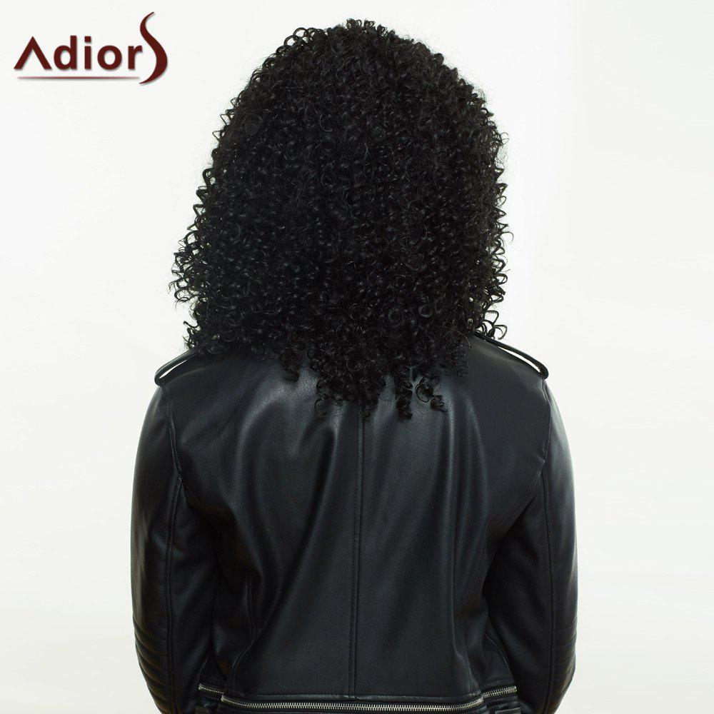 Fashionable Women's Black Long Fluffy Curly Side Parting Synthetic Wig - BLACK