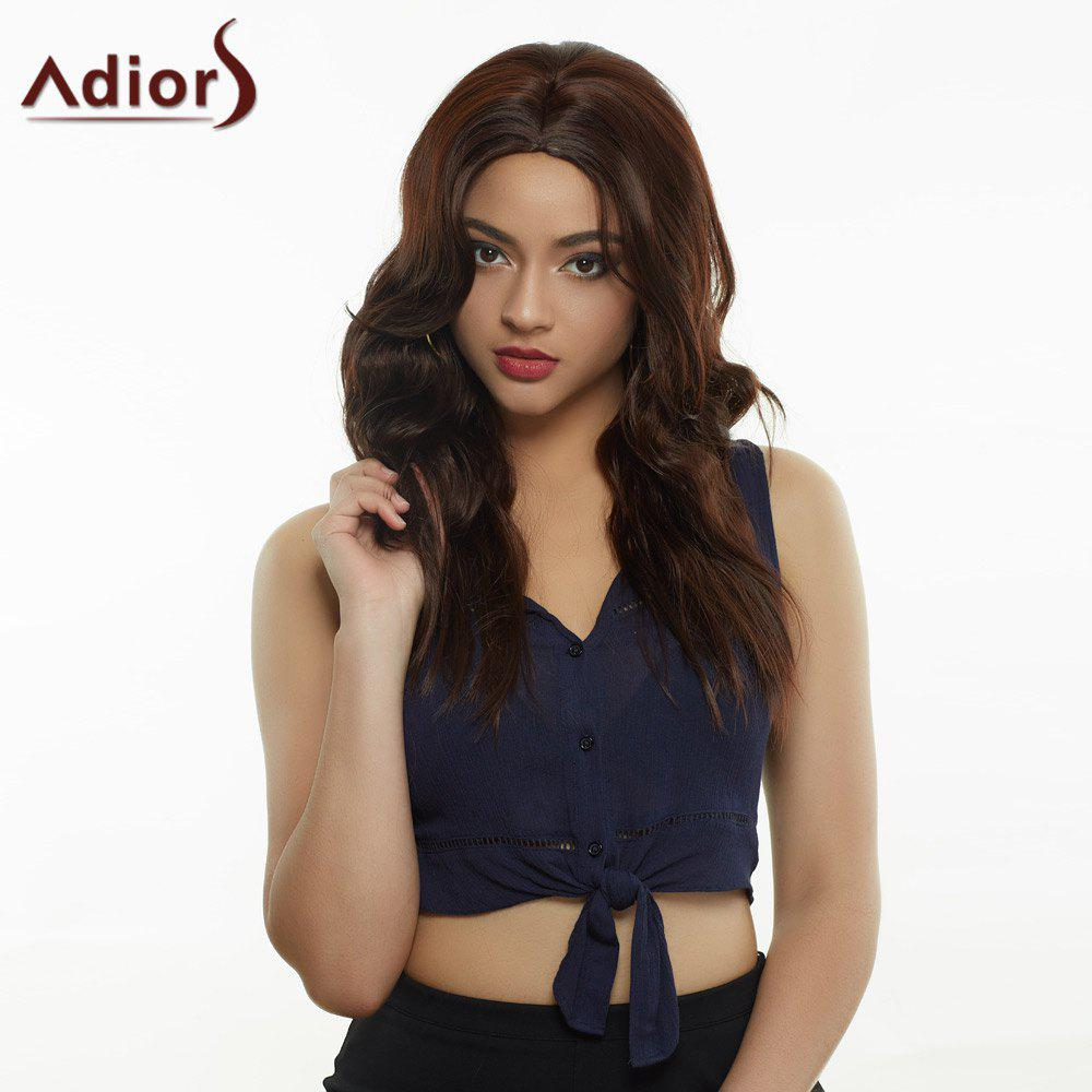 Stunning Women's Deep Brown Long Straight Slightly Curled Centre Parting Synthetic Wig - DEEP BROWN