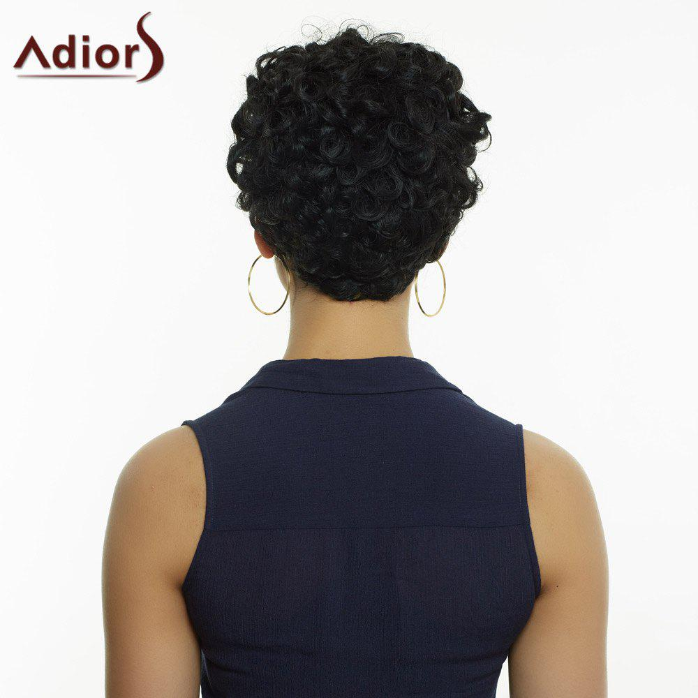 Adiors Side Bang Short Curly Fluffy Synthetic Wig - BLACK