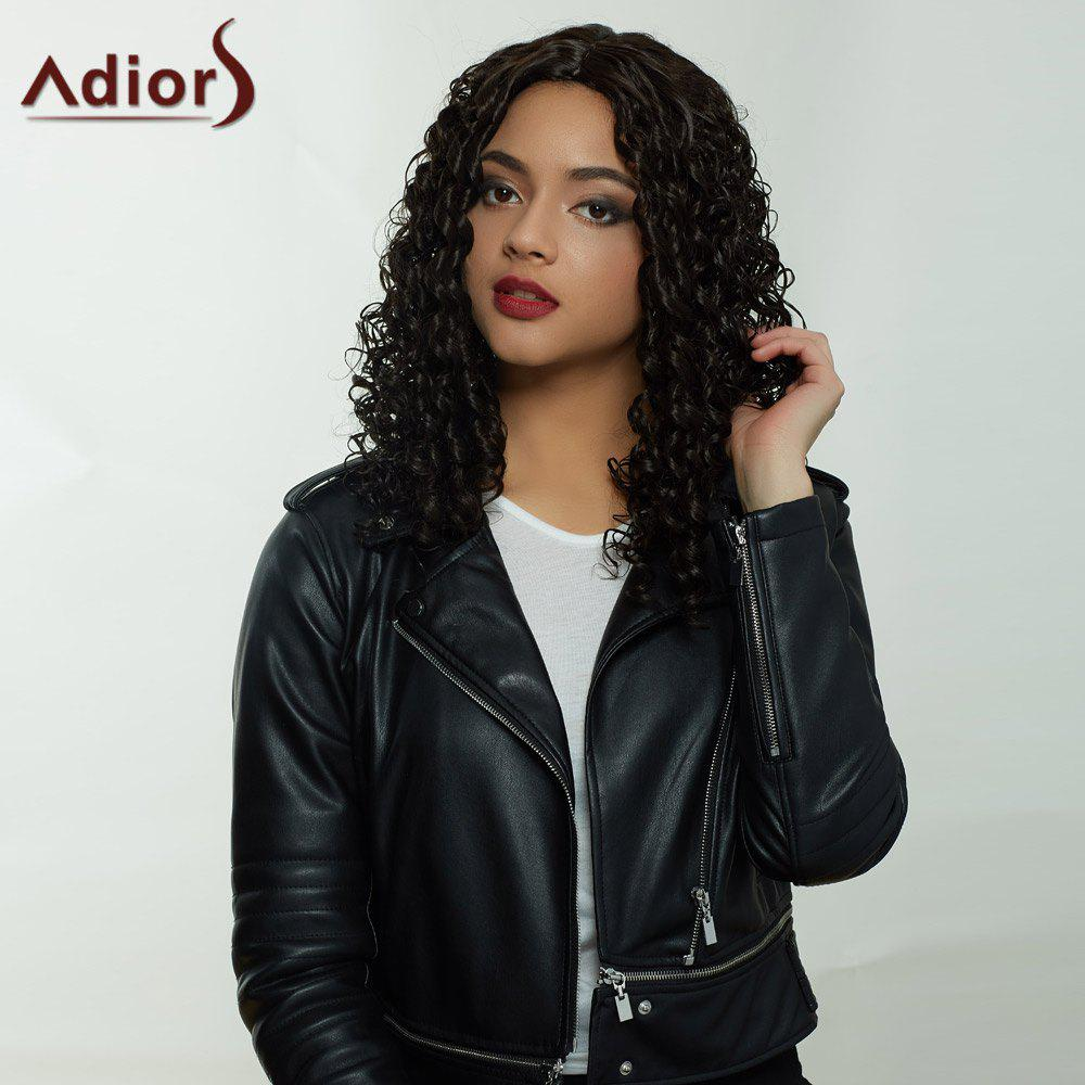 Adiors Hair Synthetic Long Middle Part Afro Curly Wig - BLACK