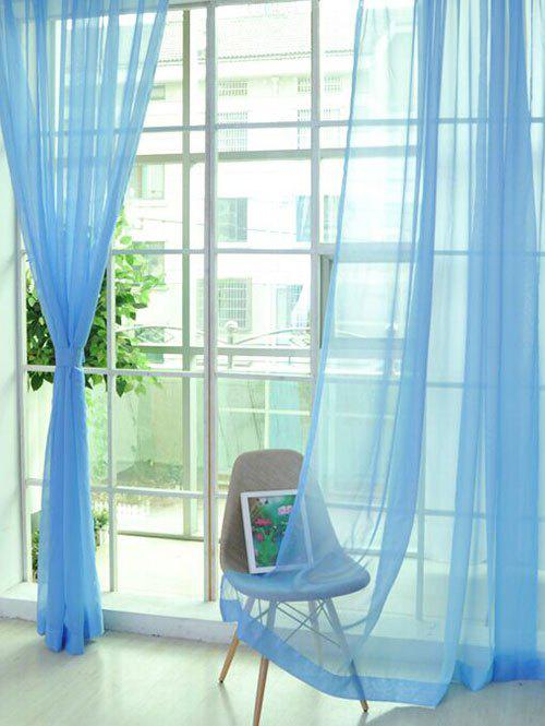 Fen tre decor sheer tulle rideau pour le salon bleu clair for Rideau fenetre salon