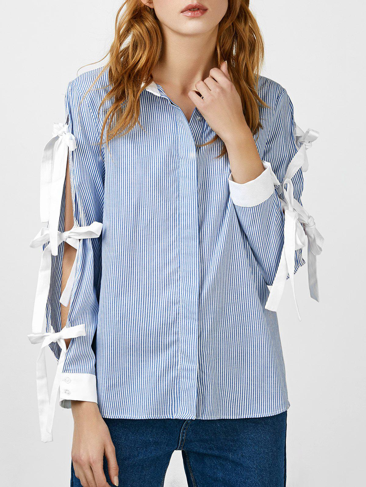 Self Tie Striped Vented Blouse - BLUE XL