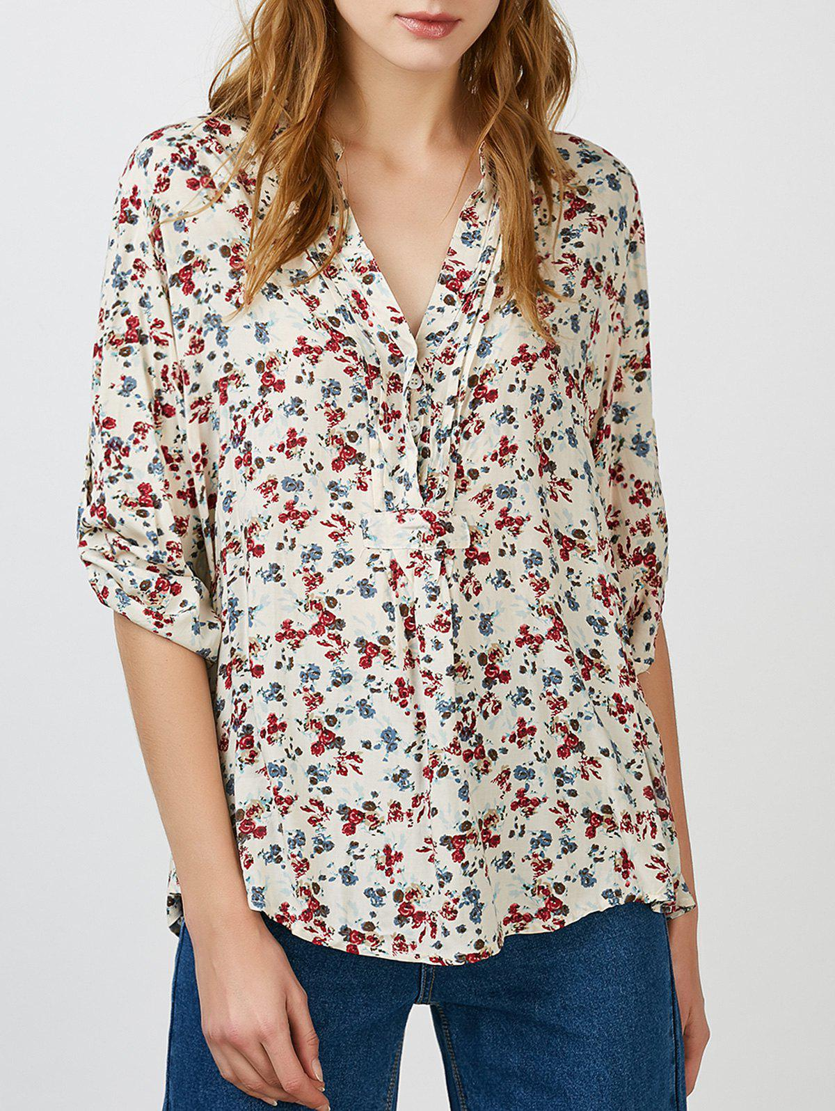 Floral V Neck Blouse - COLORMIX XL