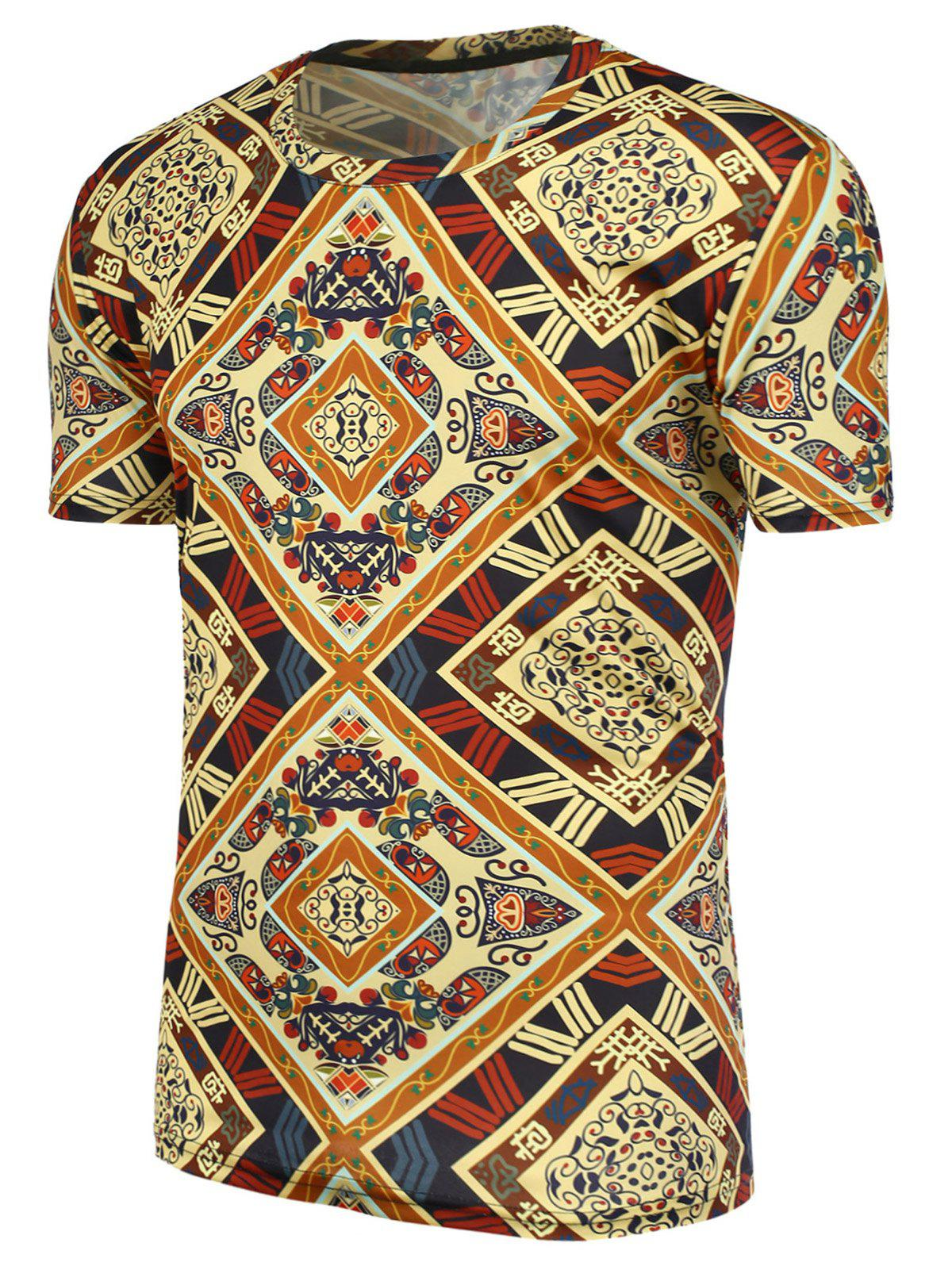 Ethnic Printed Short Sleeves Tee - COLORMIX 2XL