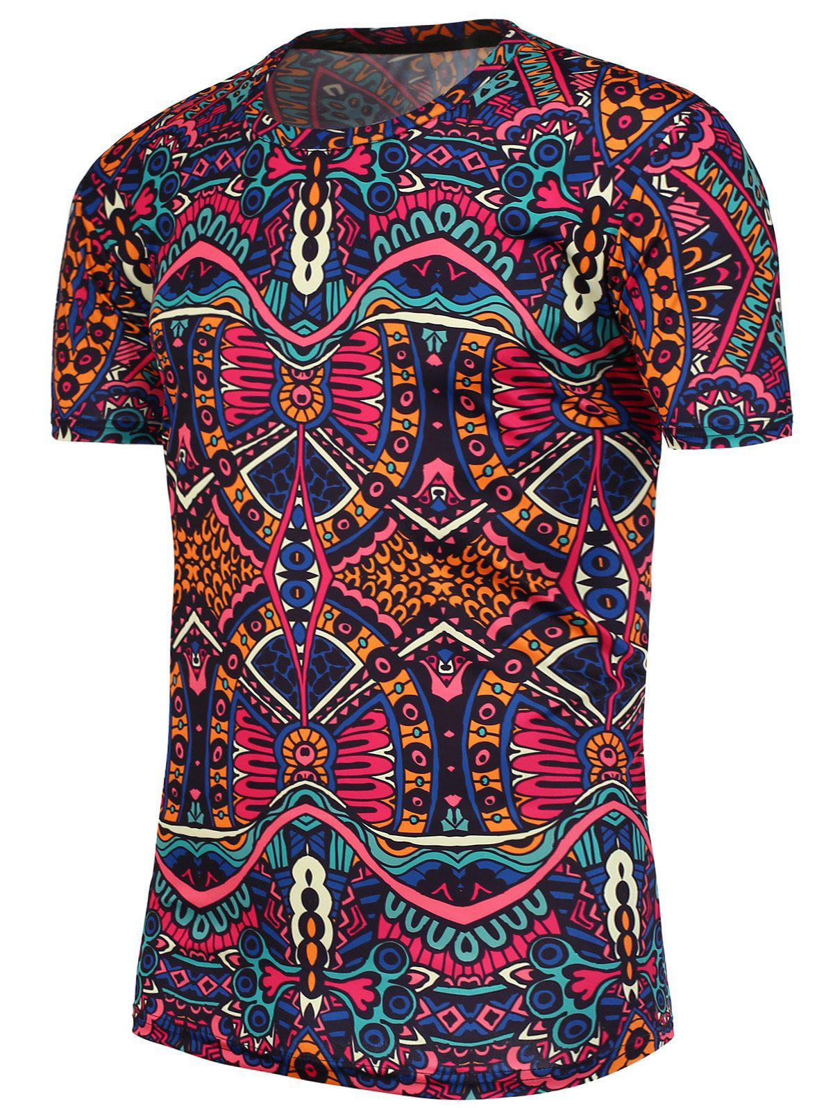 National Printed Short Sleeves T-Shirt - COLORMIX XL