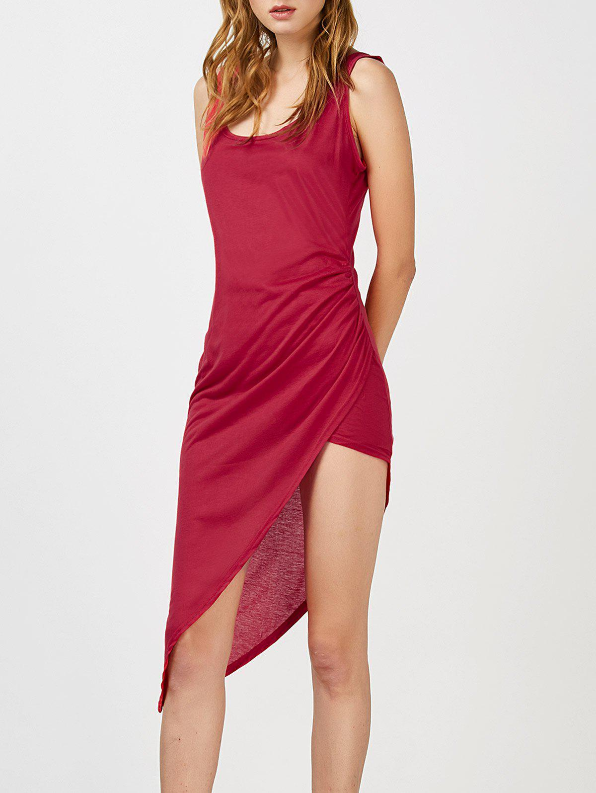 Asymmetric Hem Sleeveless Dress - RED S