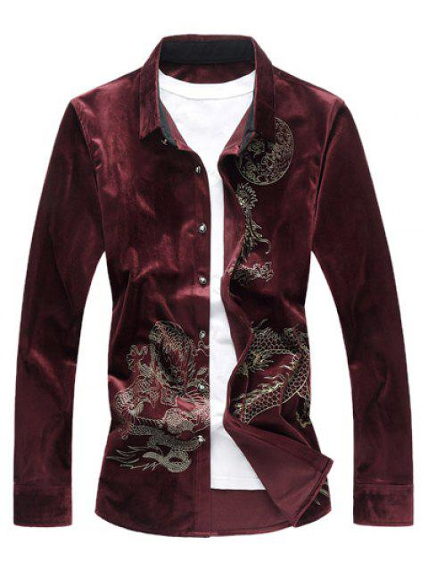 Long Sleeve Dragon Print Velvet Shirt - RED 3XL